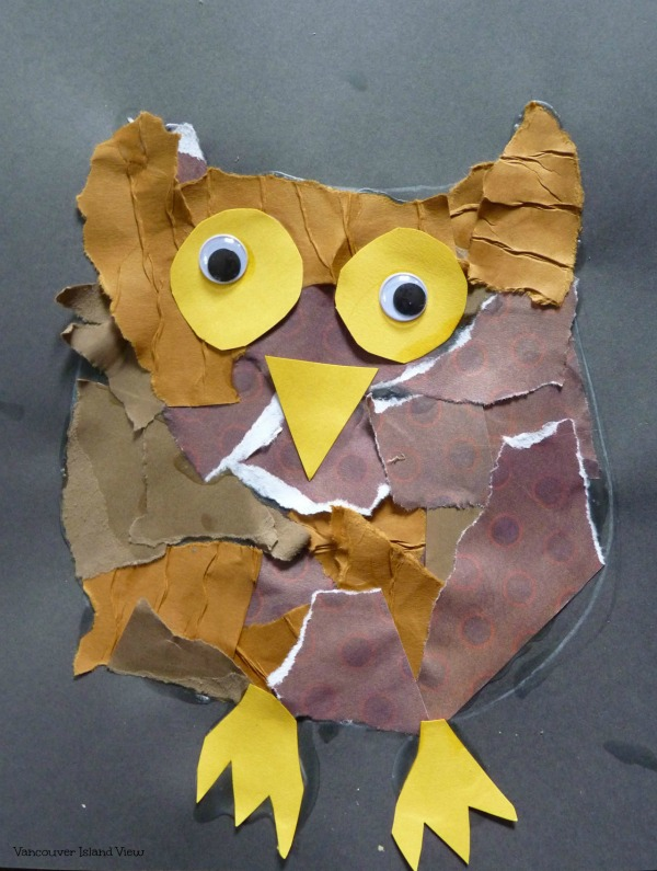 This torn paper owl craft is a great art project for kids.