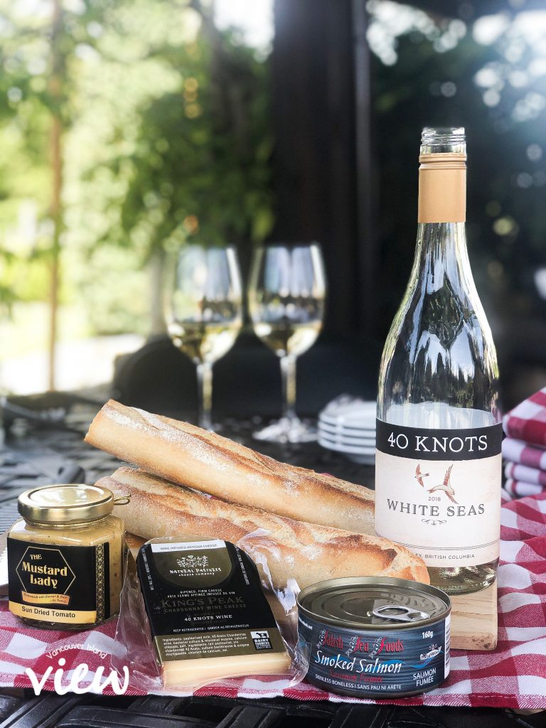 A Picnic Basket made up by 40 Knots Vineyard and Estate Winery